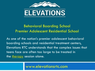 Elevations RTC - Behavioral Boarding School