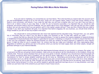Facing Failure With Micro Niche Websites