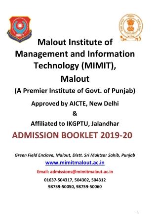 mimit admission booklet