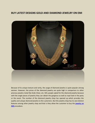 BUY LATEST DESIGNS GOLD AND DIAMOND JEWELRY ON EMI