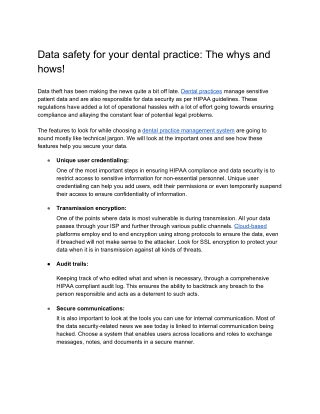 Data safety for your dental practice: The whys and hows!