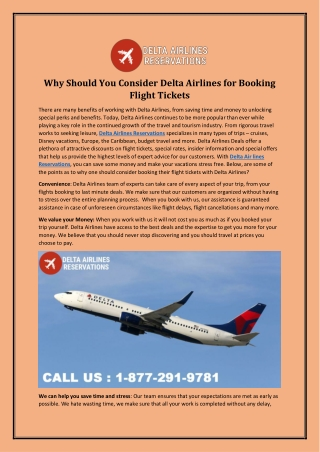 Why Should You Consider Delta Airlines for Booking Flight Tickets