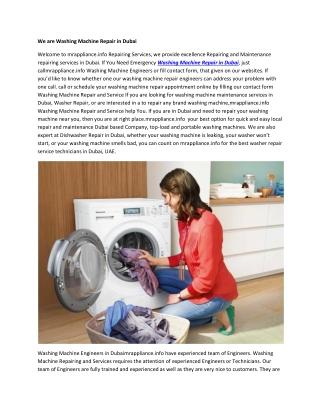 We are Washing Machine Repair in Dubai