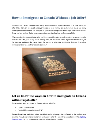 Guide on Immigrating to Canada Without Job Offer