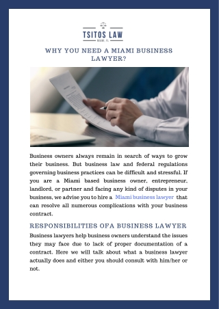 Why You Need a Miami Business Lawyer?