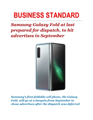 Samsung Galaxy Fold at last prepared for dispatch, to hit advertises in September