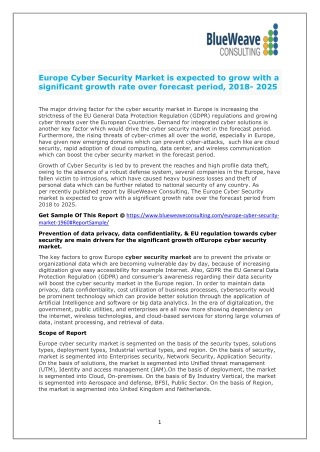 Europe Cyber Security Market is expected to grow with a significant growth rate over forecast period, 2018- 2025