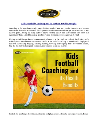 Kids Football Coaching and its Various Health Benefits