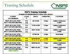 Training Schedule