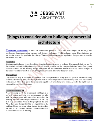 Things to consider when building commercial architecture