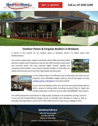 Outdoor Patios & Pergolas Builders in Brisbane