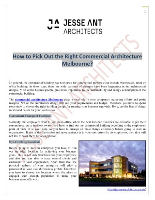How to Pick Out the Right Commercial Architecture Melbourne?