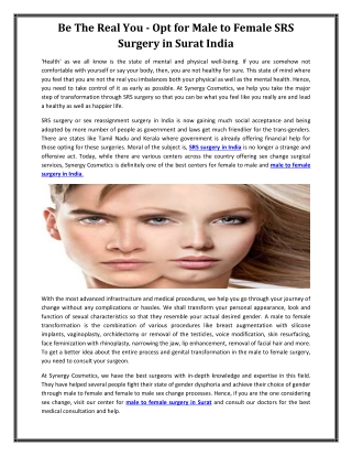 Be The Real You - Opt for Male to Female SRS Surgery in Surat India