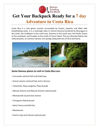 Get Your Backpack Ready for a 7 day Adventure in Costa Rica