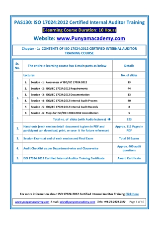 Online Course For ISO/IEC 17024 Certified Internal Auditor Training Launched By Punyam Academy