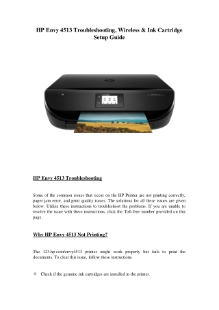 Hp Envy 4513 Troubleshooting, Wireless & Ink Cartridge Setup