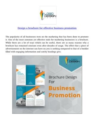 Design a brochure for effective business promotion