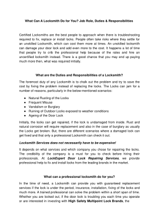 Locksmith Do for You Job Role, Duties & Responsibilities