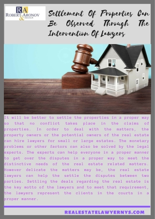 Settlement Of Properties Can Be Observed Through The Intervention Of Lawyers