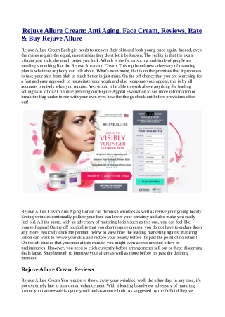 Rejuve Allure Cream Cost, Reviews & Buy?