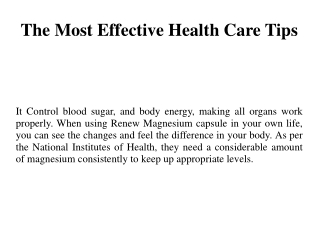 The Most Effective Health Care Tips