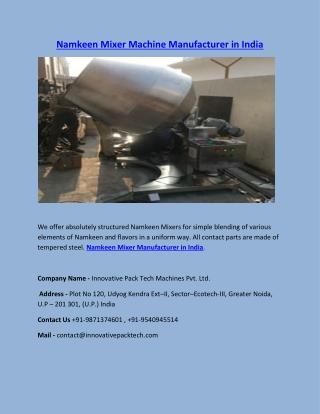 Namkeen Mixer Manufacturer in India   Best Filling Mixer Machine In India