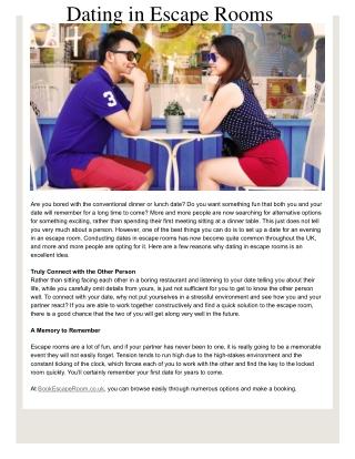 Dating in Escape Rooms - Book Escape Room