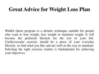 Great Advice for Weight Loss Plan