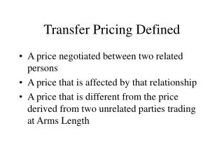 Transfer Pricing Defined