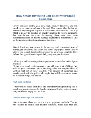 How Smart Invoicing Can Boost your Small Business?