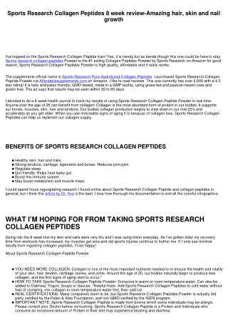 Sports Research Collagen Peptides 8 week review-Amazing hair, skin and nail growth