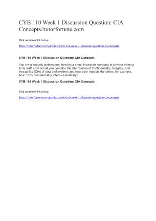 CYB 110 Week 1 Discussion Question: CIA Concepts//tutorfortune.com