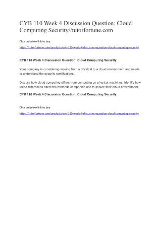 CYB 110 Week 4 Discussion Question: Cloud Computing Security//tutorfortune.com