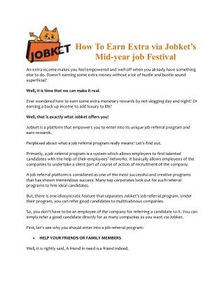 How To Earn Extra via Jobket's Mid-year job Festival