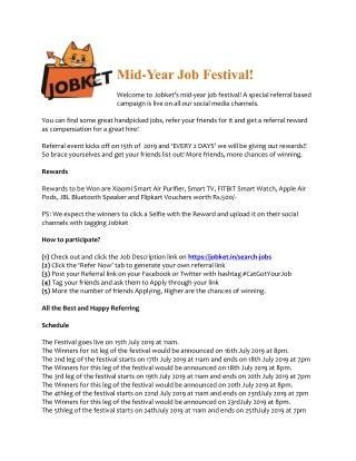 Mid-Year Job Festival!