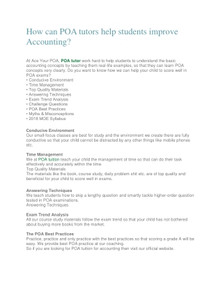How can POA tutors help students improve Accounting?