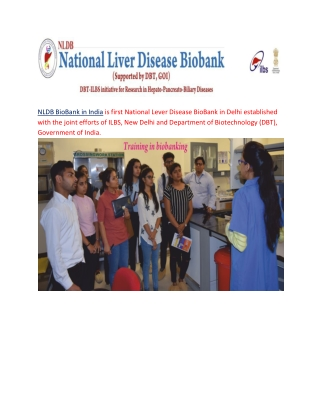 NLDB BioBank in India