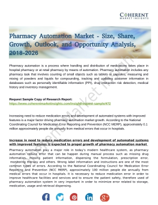 Pharmacy Automation Market Foreseen to Grow Exponentially over 2026