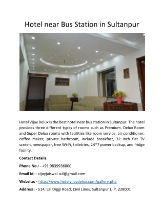 Hotel near Bus Station in Sultanpur