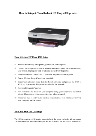 How to Setup & Troubleshoot HP Envy 4508 Printer