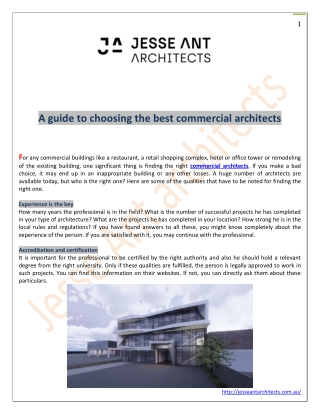 A guide to choosing the best commercial architects
