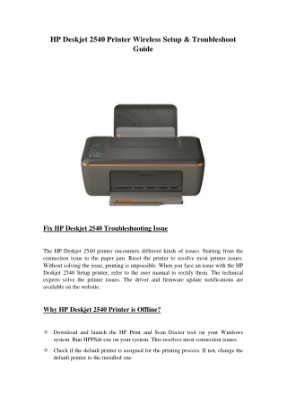 HP Deskjet 2540 Printer Wireless Setup & Troubleshoot Guide