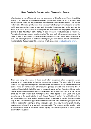 User Guide On Construction Discussion Forum