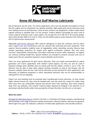 Know All About Gulf Marine Lubricants