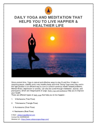 DAILY YOGA AND MEDITATION THAT HELPS YOU TO LIVE HAPPIER & HEALTHIER LIFE