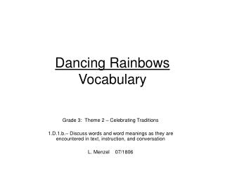 Dancing Rainbows Vocabulary