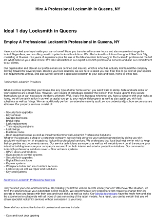Hire A Specialist Locksmith in Queens, NY