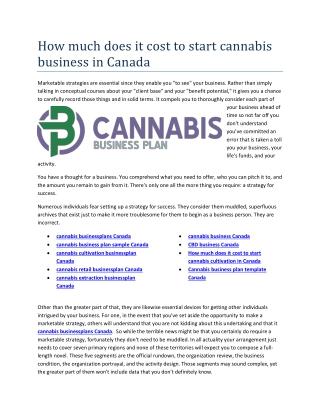 Cannabis business plan template Canada