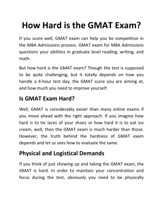 How Hard is the GMAT Exam