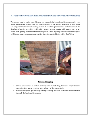 5 Types Of Residential Chimney Repair Services Offered By Professionals